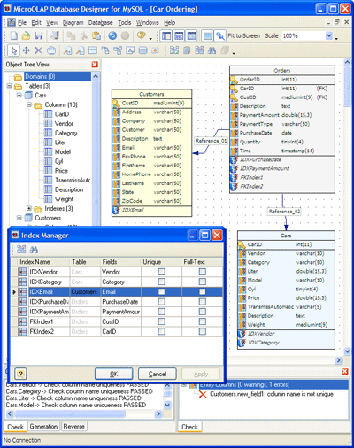 Visual development system for MySQL database design, modeling, and creation